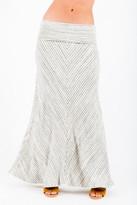 Saint Grace Moby Stripe Fold Over Skirt In Cream Stripe