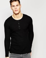 Asos Waffle Jersey Long Sleeve Top With Grandad Neck