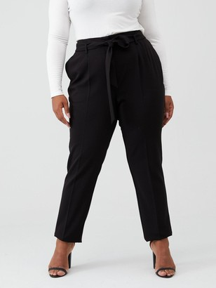 V By Very Curve Value Tie Waist Tapered Trouser - Black