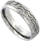 Sabrina Silver Titanium 6mm Wedding Band Ring Wave Pattern Brushed Finish Flat Beveled Edges Comfort Fit , size 7