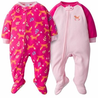 Gerber Toddler Girls Microfleece Blanket Sleeper Pajamas, 2-Pack (3T-5T)