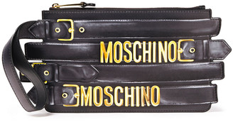 Moschino Embellished Buckled Leather Pouch
