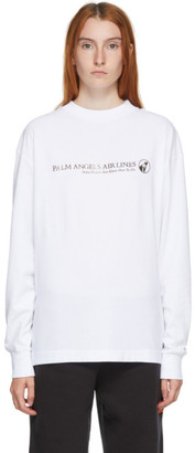 Palm Angels White Long Sleeve Palm Airlines T-Shirt