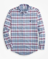 Brooks Brothers Non-Iron Regent Fit Vista Blue Plaid Sport Shirt