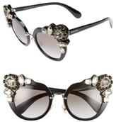Miu Miu Women's 52Mm Cat Eye Sunglasses - Black