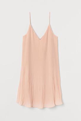 H&M Pleated Chiffon Dress - Orange