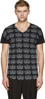 Ann Demeulemeester Black and Pale Grey Floral Print V-neck T-shirt
