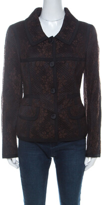 Escada Black and Brown Lace Button Front Jacket L