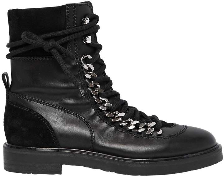 Casadei 30mm Chained Leather & Suede Boots