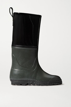Ludwig Reiter Gardener Rubber And Patent-leather Rain Boots - Black