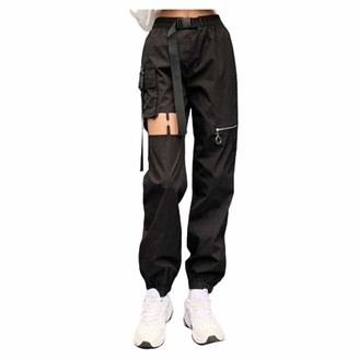 Whyeasy Women's High Waist Slim Fit Jogger Cargo Pants for Women with Matching Belt Lightweight Hiking Outdoor Sweatpants(Black S)