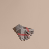 Burberry Check Detail Wool Cashmere Gloves