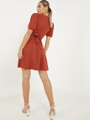 Quiz Rust Scuba Crepe Buckle Skater Dress