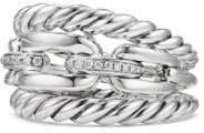 David Yurman Wellesley Link Pave Diamonds& Sterling Silver Three-Row Ring