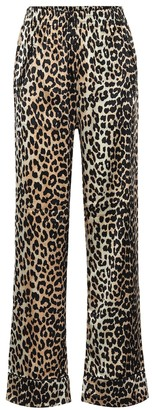 Ganni Leopard-print stretch silk-satin pajama pants