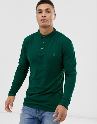 Soul Star fitted jersey long sleeve polo in dark green