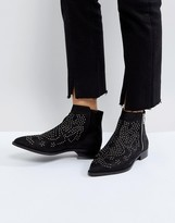 Asos Design AUTO PILOT Suede Studded Ankle Boots