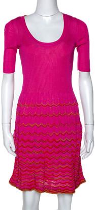 M Missoni Pink Knit Scoop Neck Skater Dress S