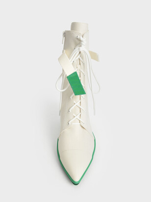 Charles & Keith Recycled Cotton Lace-Up Ankle Boots