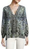 Camilla Printed Silk Lace-Up Blouse