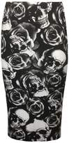 R KON WOMEN'S PRINTED STRETCHY ELASTIC WAIST OFFICE BODYCON MIDI PINCIL TUBE SKIRT Skull Rose US