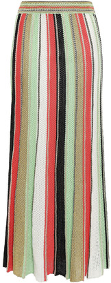 M Missoni Metallic Striped Crochet-knit Cotton-blend Maxi Skirt