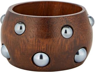 Oscar de la Renta Bead Embellished Wooden Cuff