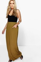 boohoo Plus Rae Pocket Front Jersey Maxi Skirt