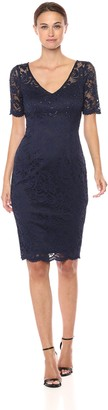 Adrianna Papell Women's Paisley ST. LACE Short Sheath Dress