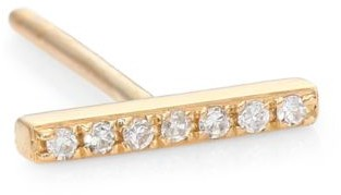 Ef Collection Diamond & 14K Yellow Gold Single Bar Stud Earring