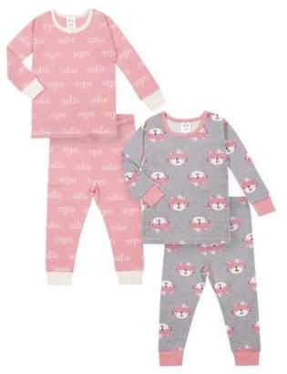 Gerber Baby Toddler Girl Snug Fit Organic Cotton Pajamas, 4pc Set