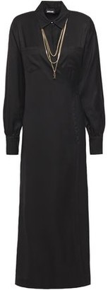 Just Cavalli Chain-embellished Twill Midi Wrap Dress
