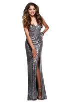 Faviana Sequined Draped Sweetheart Evening Gown with High Slit 7579