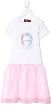 Aigner Kids Rhinestone Logo Tulle Skirt Dress