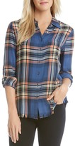 Karen Kane Frayed Plaid Shirt