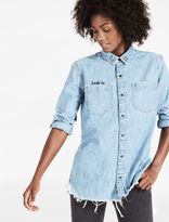 "Lucky Brand Denim Boyfriend Shirt With ""look Up"" Embroidery"