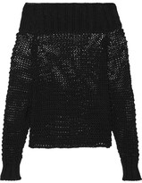 Calvin Klein Collection Ebner Off-the-shoulder Cable-knit Cotton Sweater - Black