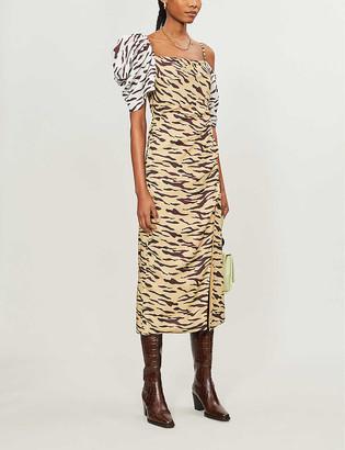 REJINA PYO Amelia tiger-print satin midi dress