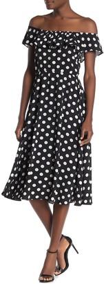 Velvet Torch Polka Dot Off-the-Shoulder Ruffled Midi Dress