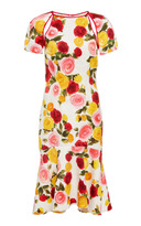 Naeem Khan Floral Short Sleeve Dress