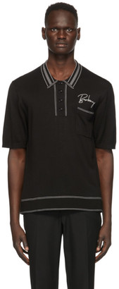 Burberry Black Mulberry Silk Weston Polo