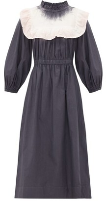 Sea Zelda Tie-dye Bib Cotton-poplin Dress - Womens - Grey White