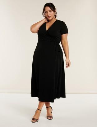 Forever New Haylee Curve Wrap Midi Dress - Black - 18