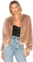 Mother The Letterman Faux Fur Jacket in Blush. - size L (also in M,S,XS)