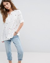 Only Batwing Shirt with Print Detail