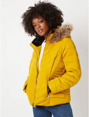 George Mustard Yellow Faux Fur Trim Chevron Padded Coat