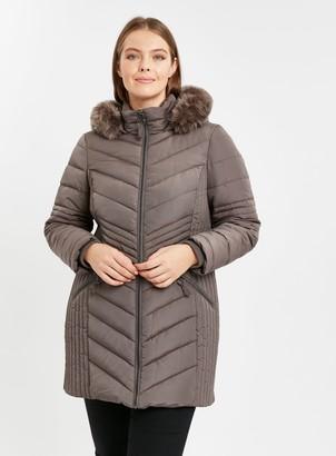 Evans Grey Chevron Padded Coat