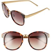 Linda Farrow Women's D-Frame 52Mm 24 Karat Gold Trim Sunglasses - Tortoise/ Brown Grad