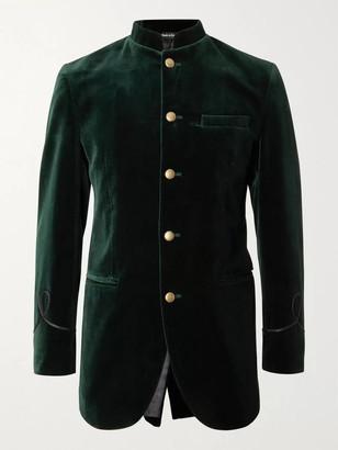 Favourbrook Slim-Fit Nehru-Collar Cotton-Velvet Blazer
