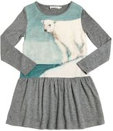 Nice Things Bear Print Wool & Crepe Blend Dress